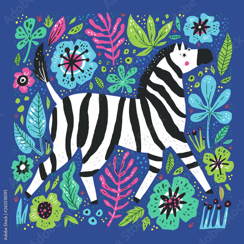 Tuinposter Imagination Zebra flat hand drawn illustration