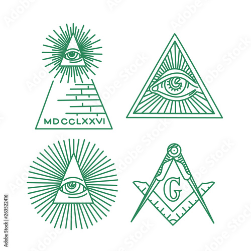 Fotografie, Tablou  Freemason symbols vector collection. All-seeing Eye