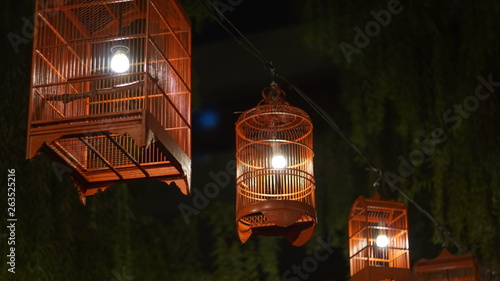 various hanging lamps create ambient light Canvas Print