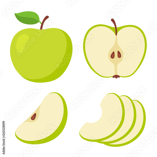 Canvas Green apple cartoon set