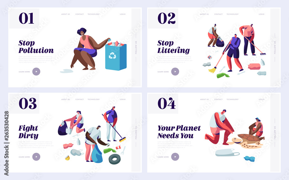 Fototapeta People Saving and Cleaning Planet from Trash Website Landing Page Templates Set. Male and Female Characters Raking Earth Surface, Recycle and Ecology. Web Page Cartoon Flat Vector Illustration, Banner