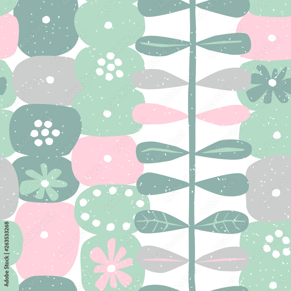Floral seamless pattern with hand drawn ornament in scandinavian style. Abstract background with flower, vector illustration for print, design, fabric.