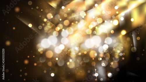 Fototapeta Abstract Black and Gold Blurred Bokeh Background obraz na płótnie