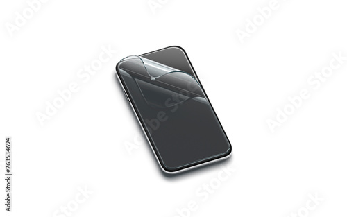 Blank curved transparent protection film on phone screen mock up, isolated, 3d rendering Fototapete