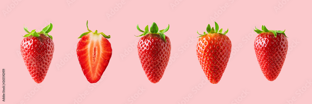 Fototapety, obrazy: Different strawberries on bright background. Minimal food concept.