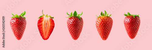Fototapeta Different strawberries on bright background. Minimal food concept. obraz