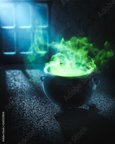 3D illustration of a witches cauldron with green potion Wallpaper Mural