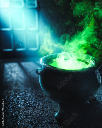 Photo  3D illustration of a witches cauldron with green potion