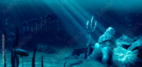 lost civilization of atlantis sunken deep in the ocean / 3D rendering Wallpaper Mural
