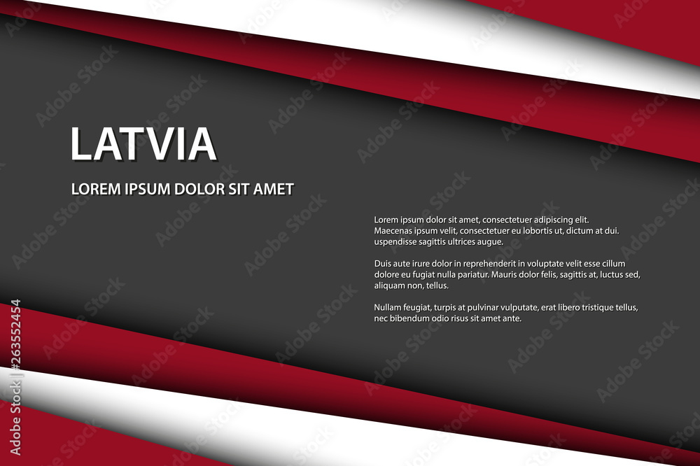 Fototapety, obrazy: Modern vector background with Latvian colors and grey free space for your text, overlayed sheets of paper in the look of the Latvian flag, Made in Latvia