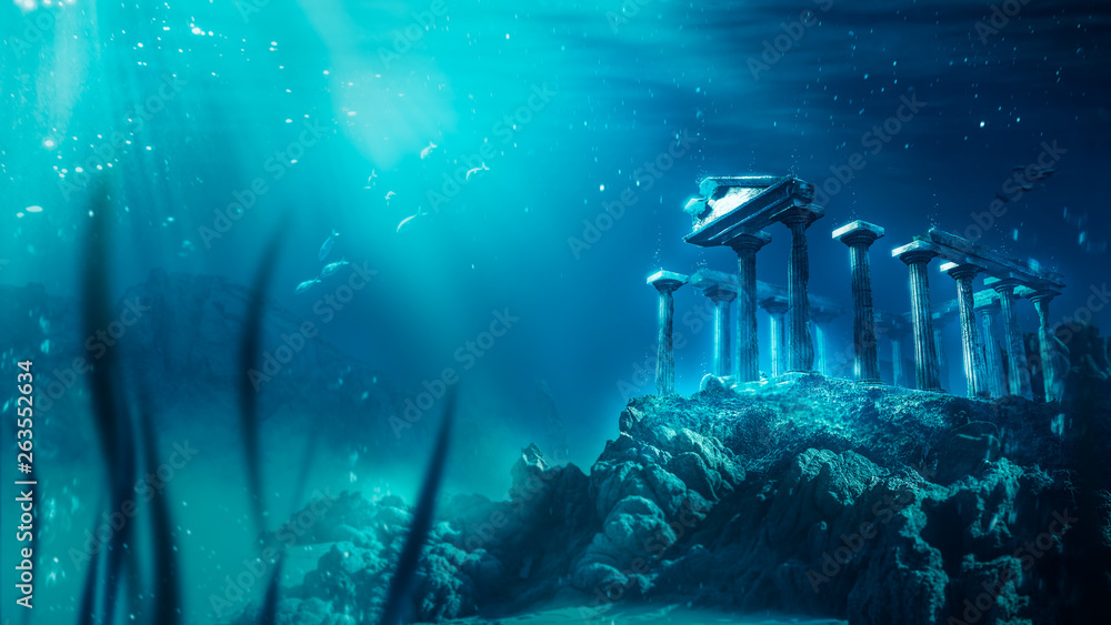 Fototapety, obrazy: lost civilization of atlantis sunken deep in the ocean / 3D rendering
