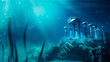 lost civilization of atlantis sunken deep in the ocean / 3D rendering