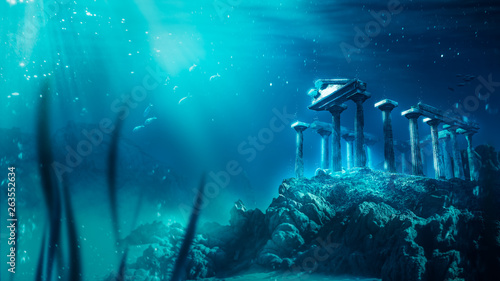 Foto auf AluDibond Turkis lost civilization of atlantis sunken deep in the ocean / 3D rendering