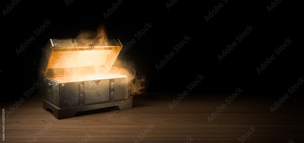 Fototapeta mysterious treasure chest with smoke