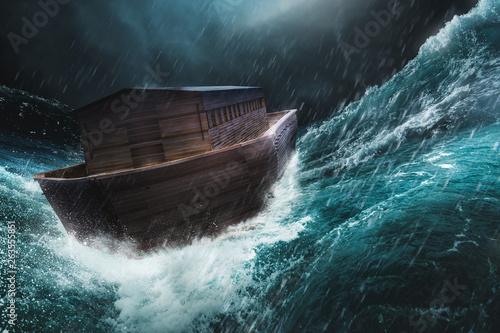 Fotografía Noahs ark in a storm / 3d illustration, mixed media