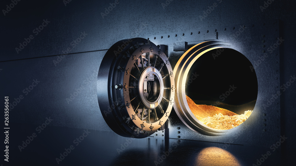 Fototapety, obrazy: Open bank vault with a bright light, 3D illustration