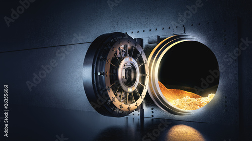 Open bank vault with a bright light, 3D illustration