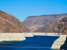Low Water Line Of Colorado River At Hoover Dam Showing The Extent Of Water Loss Or Drought, Arizona And Nevada