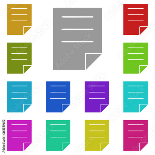 note, text multi color icon  Simple thin line, outline vector of