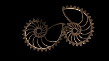 Isolate Spiral Metallic Gears Rotating On The Black Background