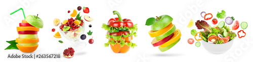Tuinposter Verse groenten Stack of fruits and vegetables. Fruit and vegetable salad.