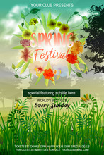 Spring Festival Flyer Template Is Designed To Announce A Wide Range Of Springtime Events: An Alternative Music Festival, A Refreshing Party In The Fields, A Famous Club Party.