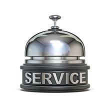 Silver Reception Bell SERVICE Text 3D