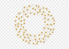 Gold Round Beads And Pearls Isolated On A Transparent Background.