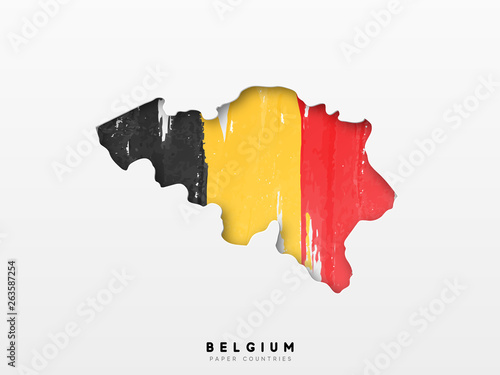 Photo Belgium detailed map with flag of country