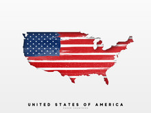 United States Of America Detailed Map With Flag Of Country. Painted In Watercolor Paint Colors In The National Flag