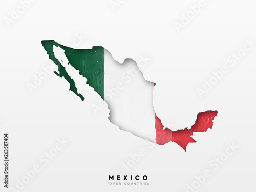 Fotografie, Tablou  Mexico detailed map with flag of country