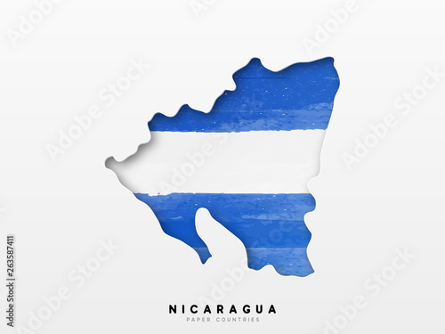 Fotografie, Obraz Nicaragua detailed map with flag of country
