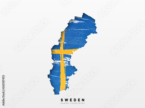 Fotomural Sweden detailed map with flag of country