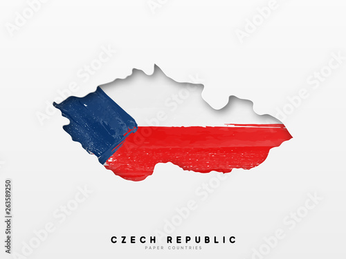 Photo  Czech republic detailed map with flag of country