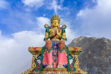 A Statue Of Maitreya Buddha At Diskit Monastery, Nubra Valley, Ladakh, Jammu And Kashmir, India. It Is 32 Meter Tall Statue Of Budhha
