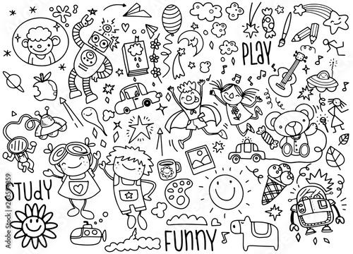 Obraz hand drawn kids doodle set,Doodle style,Vector Illustration - fototapety do salonu