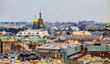 City skyline with the Church of Savior on Spilled Blood from the roof of Saint Isaac's Cathedral in Saint Petersburg, Russia