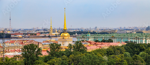City skyline with the Admiralty spire, Peter and Paul Fortress, river Neva and H Canvas Print