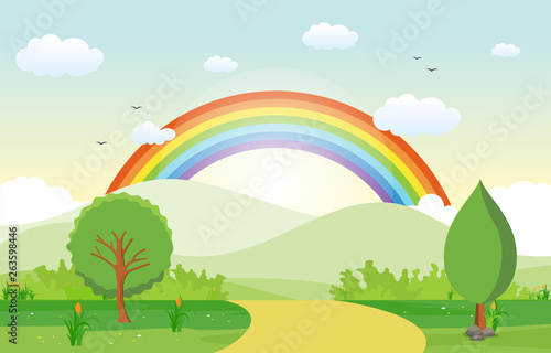 Foto op Canvas Regenboog Summer Spring Green Valley Rainbow Outdoor Landscape Illustration