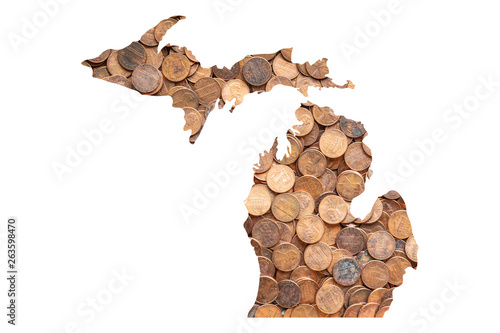 Photo  Michigan State Map and Money Concept, Piles of Coins, Pennies