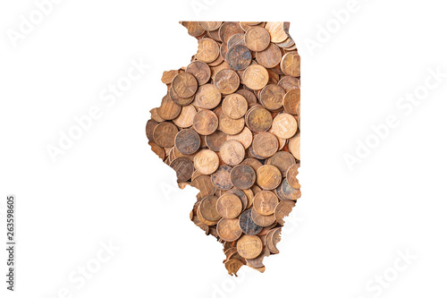 Photo  Illinois State Map and Money, Piles of Coins, Pennies
