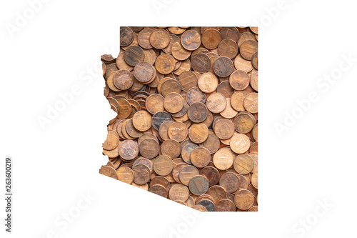 Arizona State Map and Money Concept, Piles of Coins, Pennies Canvas Print