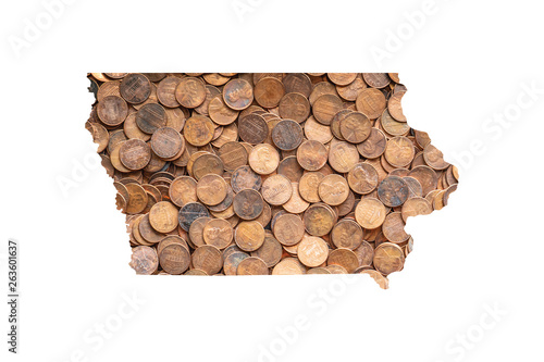 Photo Iowa State Map and Money Concept, Piles of Coins, Pennies