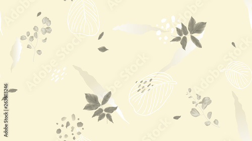 Seamless pattern, leaves and hand drawn graphics on light brown background, soft nude and brown tones