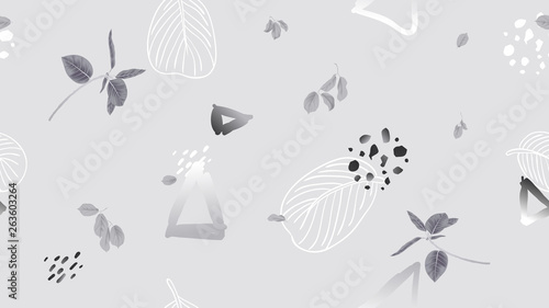 Seamless pattern, leaves and hand drawn graphics on light grey background, soft grey tones