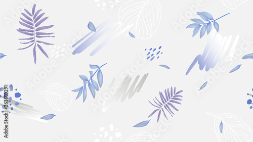 Seamless pattern, leaves and hand drawn graphics on light grey background, soft purple and blue tones