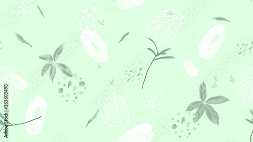 Seamless pattern, leaves and hand drawn graphics on light green background, soft green tones