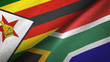 canvas print picture - Zimbabwe and South Africa two flags textile cloth, fabric texture