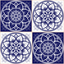Delft Dutch Tile Pattern Vector Seamless With Square Ornament. Portugal Azulejos, Mexican Talavera, Italian Sicily Majolica Or Spanish Ceramic. Mosaic Texture For Bathroom Floor Or Kitchen Wall.