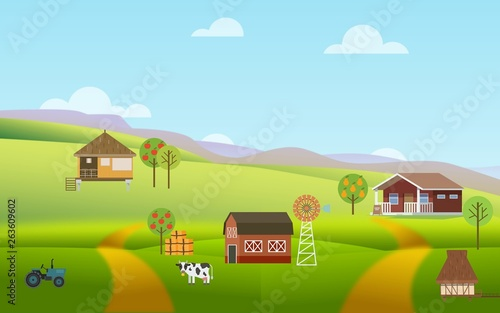 Farmers village on a green hill